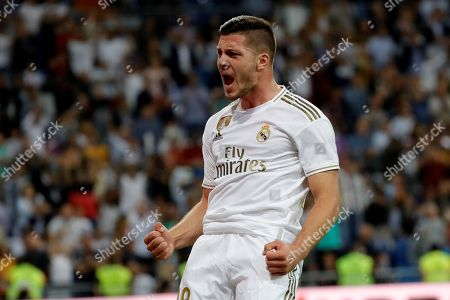 Real Madrid's forward Luka Jovic reacts during the Spanish LaLiga match between Real Madrid and CA Osasuna at Santiago Bernabeu stadium in Madrid, Spain, 25 September 2019.