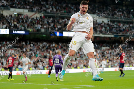 Stock Picture of Real Madrid's Luka Jovic celebrates a goal chalked off due to a correct offside call, during the Spanish La Liga soccer match between Real Madrid and Osasuna at the Santiago Bernabeu stadium in Madrid, Spain