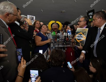 Cacique Raoni Metuktire (C), a historic defender of the rights of indigenous peoples of the Amazon, participates in an event held at the Congress, in Brasilia, Brazil, 25 September 2019, a day after the president of Brazil, Jair Bolsonaro, before The General Assembly of the United Nations accused him of being 'used by foreign powers' who would pretend to take over that region. Metuktire said that Bolsonaro 'is not a leader and must leave the power', for 'the good of all'.