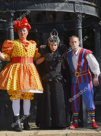 Stock Picture of Panto Dame Matt Rixon, Michelle Collins and Muddles, Chris Jarvis from CBeebies.