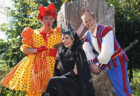 Panto Dame Matt Rixon, Michelle Collins as the wicked stepmother Carabosse and Chris Jarvis.