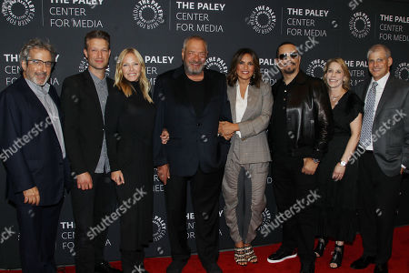 Warren Leight, Peter Scanavino, Kelli Giddish, Dick Wolf, Mariska Hargitay, Ice-T, Julie Martin and Michael Starr