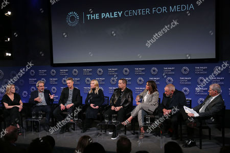 Julie Martin, Warren Leight, Peter Scanavino, Kelli Giddish, Ice-T, Mariska Hargitay, Dick Wolf and Michael Starr