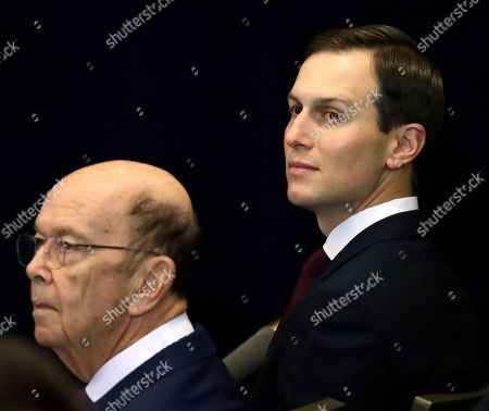 Secretary of Commerce Wilbur Ross (L) and senior advisor Jared Kushner (R) sit in the audience before the start of a press conference with US President J. Donald Trump (not pictured) held on the sidelines of the opening of the 74th session of the United Nations General Assembly in New York, New York, USA, 25 September 2019. Democrats in the United States Congress announced they are beginning a formal impeachment inquiry as a result of a President Trump's actions on a phone call with the president of Ukraine.