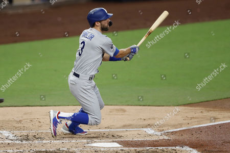 Los Angeles Dodgers' Chris Taylor hits a home run during the second inning of a baseball game against the San Diego Padres, in San Diego