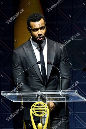 Isaiah Mustafa speaks at the 60th Annual Clio Awards at The Manhattan Center, in New York