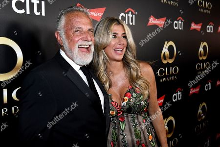 Jonathan Goldsmith, Nicole Purcell. Jonathan Goldsmith and Clio President, Nicole Purcell, on the red carpet at the 60th Annual Clio Awards at The Manhattan Center, in New York