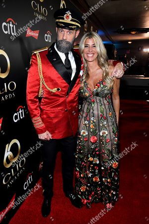 Brandon Moynihan and Clio President Nicole Purcell on the red carpet at the 60th Annual Clio Awards at The Manhattan Center, in New York