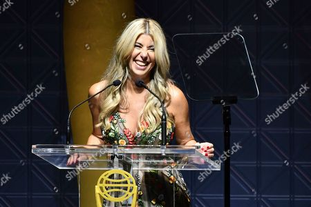 Clio President Nicole Purcell speaks on stage at the 60th Annual Clio Awards at The Manhattan Center, in New York