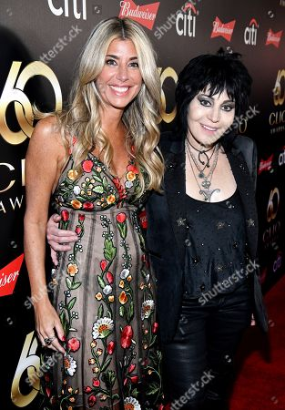 Clio President, Nicole Purcell and musician Joan Jett on the red carpet at the 60th Annual Clio Awards at The Manhattan Center, in New York