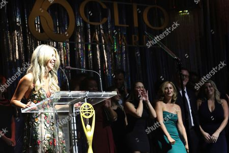 Clio president Nicole Purcell on stage during the 60th Annual Clio Awards The Manhattan Center on in New York