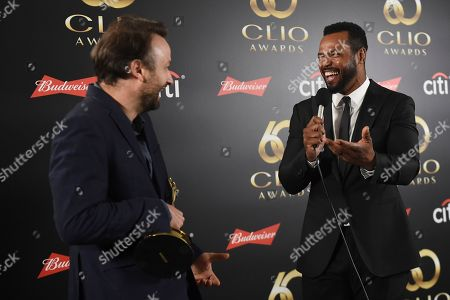 Jim Wilson, Creative Director, AMVBBDO, left, and Isaiah Mustafa in the green room during the 60th Annual Clio Awards at The Manhattan Center, in New York