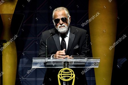 Jonathan Goldsmith speaks on stage at the 60th Annual Clio Awards at The Manhattan Center, in New York