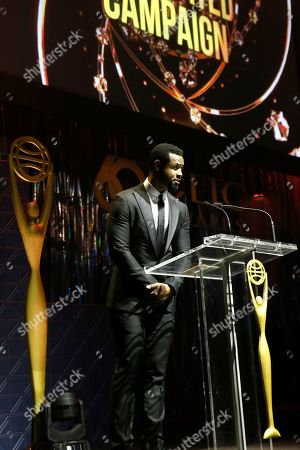 Isaiah Mustafa on stage during the 60th Annual Clio Awards at The Manhattan Center on in New York