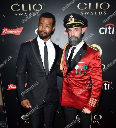 """Stock Image of Isaiah Mustafa, Brandon Moynihan. Actors Isaiah Mustafa, left, aka """"The Old Spice Guy"""" and Brandon Moynihan aka """"Captain Obvious"""" pose together at the 60th annual Clio Awards at The Manhattan Center, in New York"""