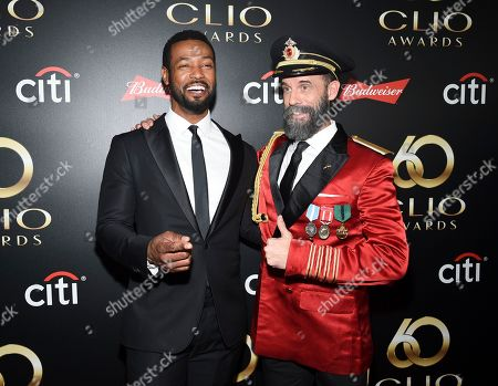 """Stock Photo of Isaiah Mustafa, Brandon Moynihan. Actors Isaiah Mustafa, left, aka """"The Old Spice Guy"""" and Brandon Moynihan aka """"Captain Obvious"""" pose together at the 60th annual Clio Awards at The Manhattan Center, in New York"""
