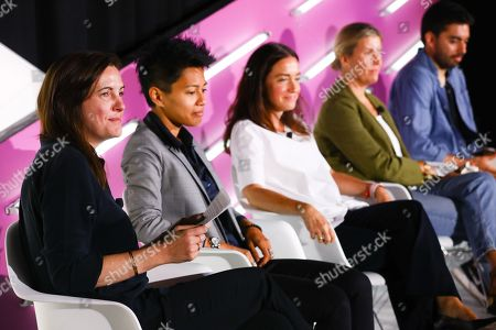 Stock Photo of Danika Laszuk (General Manager, Betaworks Camp, Betaworks), Niz Safrudin (Sr. Consultant for Idea Development, SAP), Claire Mitchell (Director of VaynerSmart, VaynerMedia), Lara Fitch (COO + Head of Product, Amper Music), Cristobal Valenzuela (Co-Founder, RunwayML)