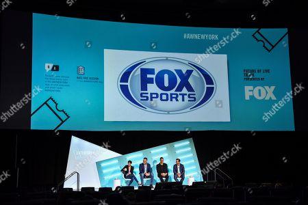 Jenna Wolfe (Host, First Things First, FS1), Howie Long (NFL Studio Analyst, FOX), Tony Gonzalez (NFL Studio Analyst, FOX) and Mark Silverman (President, National Networks, FOX Sports)