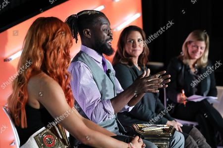 Becky Lynch (WWE Superstar, WWE); Kofi Kingston (WWE Superstar, WWE); Stephanie McMahon-Levesque (Chief Brand Officer, WWE); Jenny Rooney (Editor of the CMO Network, Forbes)