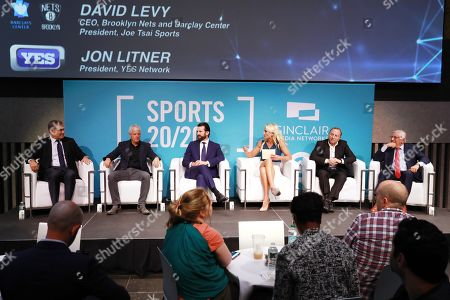 Jon Litner (CEO, YES Network), David Levy (CEO, President of the Brooklyn Nets, Barclay Center and Joe Tsai Sports), Chris Ripley (President & CEO, Sinclair) and Sarah Kustok (Brooklyn Nets Game Analyst, YES Network), Gary Bettman (Commissioner, National Hockey League) and David Stern (Commission Emeritus NBA)