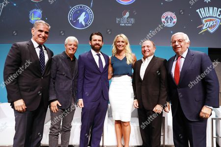 Stock Photo of Jon Litner (CEO, YES Network), David Levy (CEO, President of the Brooklyn Nets, Barclay Center and Joe Tsai Sports), Chris Ripley (President & CEO, Sinclair) and Sarah Kustok (Brooklyn Nets Game Analyst, YES Network), Gary Bettman (Commissioner, National Hockey League) and David Stern (Commission Emeritus NBA)