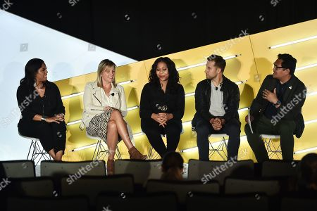 Stock Image of Dia Simms (President, Combs Enterprises), Meredith Guerriero (US Head of Partnerships, Pinterest), Thai Randolph (GM and EVP, Kevin Hart's Laugh Out Loud Network), Mike Rothman (CEO, Fatherly), and John Dioso (Studio 30 Editor, Ad Age)