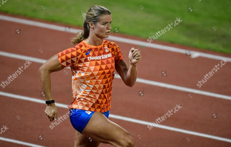 Dutch sprinter Dafne Schippers exercises during an evening training session at he Qatar Sports Club prior to the start of the World Athletics Championships in Doha, Qatar