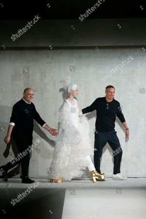 Christian Lacroix, Dries Van Noten and model on the catwalk
