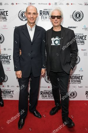 Tristan Loraine and Elliot Grove attend the Film Premiere of Everybody Flies at Vue Piccadilly.