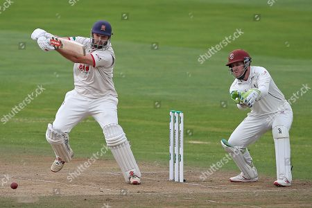 Nick Browne in batting action for Essex as Steven Davies looks on from behind the stumps during Somerset CCC vs Essex CCC, Specsavers County Championship Division 1 Cricket at The Cooper Associates County Ground on 26th September 2019