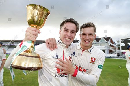 Will Buttleman and Michael Pepper of Essex ce lebrate with the Championship Trophy during Somerset CCC vs Essex CCC, Specsavers County Championship Division 1 Cricket at The Cooper Associates County Ground on 26th September 2019