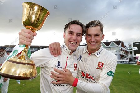Will Buttleman (L) and Michael Pepper of Essex celebrate winning the Championship during Somerset CCC vs Essex CCC, Specsavers County Championship Division 1 Cricket at The Cooper Associates County Ground on 26th September 2019