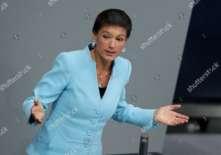 Sahra Wagenknecht, co-faction leader of the German Left Party, delivers a speech during a meeting of the German federal parliament, Bundestag, at the Reichstag building in Berlin, Germany
