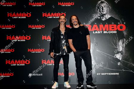 Spanish cast actors Sergio Peris-Mencheta (R) and Oscar Jaeneda (L) pose during the presentation of the film 'Rambo: Last Blood' in Madrid, Spain, 26 September 2019. The film will be premiered on theaters in Spain 27 September 2019.