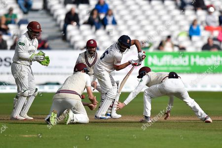 Ravi Bopara of Essex batting with Somerset fielders in close catching positions during the Specsavers County Champ Div 1 match between Somerset County Cricket Club and Essex County Cricket Club at the Cooper Associates County Ground, Taunton