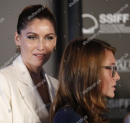 Laetitia Casta (L) and actor Luc Bruchez (R) attend the award giving ceremony of the Greenpeace's Lurra prize, which was delivered to the crew of Delphine Lehericey's film 'Beyond the Horizon' , at the 67th San Sebastian International Film Festival (SSIFF), in San Sebastian, Spain, 26 September 2019. The festival runs from 20 to 28 September.