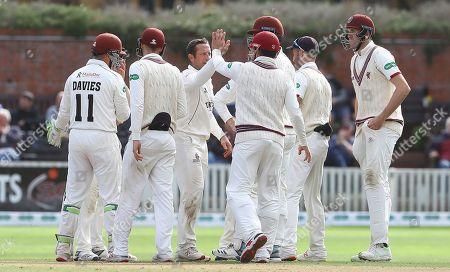 Roelof van der Merwe of Somerset celebrates the wicket of Ravi Bopara of Essex