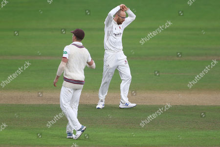 Jack Leach of Somerset shows a look of frustration after being denied an LBW against Sir Alastair Cook of Essex before the players go off for rain