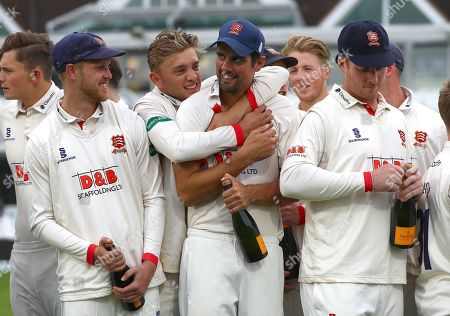 Stock Picture of Sir Alastair Cook of Essex celebrates with his team mates