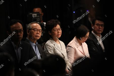 (L-R) Patrick Nip Secretary for Constitutional and Mainland Affairs, Lau Kong-wah, Secretary for Home Affairs of Hong Kong, Hong Kong Chief Executive Carrie Lam, Sophia Chan Secretary for Food and Health, and Edward Yau Tang-wah, Secretary for Commerce and Economic attend a meeting with selected participants in Hong Kong, China, 26 September 2019. Lam is holding her first dialogue with the community with a sample of 150 participants selected randomly. Hong Kong has entered its fourth month of mass protests, originally triggered by a now suspended extradition bill to mainland China that have turned into a wider pro-democracy movement.