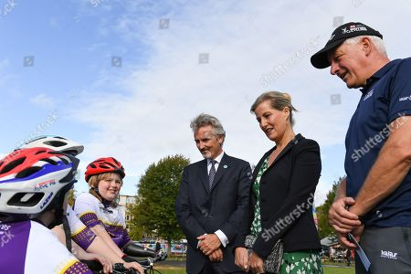 Sophie Countess of Wessex and Frank Slevin visit British Cycling.