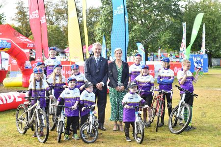 Stock Image of Sophie Countess of Wessex and Frank Slevin visit British Cycling.