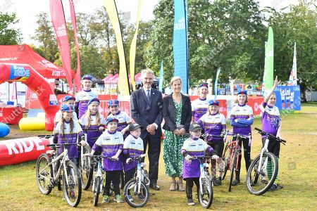 Stock Photo of Sophie Countess of Wessex and Frank Slevin visit British Cycling.