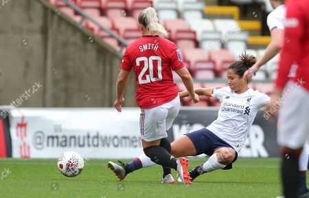 Kirsty Smith of Manchester United Women Women and Courtney Sweetman-Kirk of Liverpool Ladies