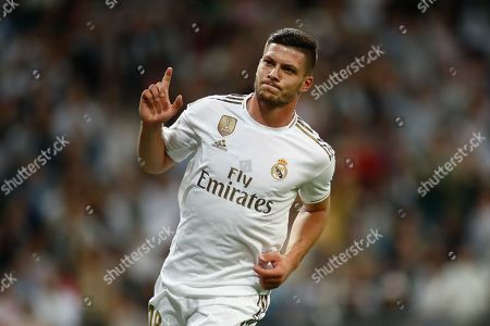 Stock Image of Luka Jovic of Real Madrid celebrates a goal cancleled