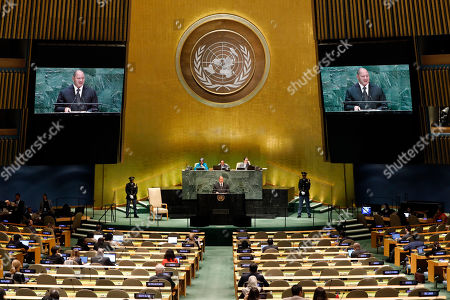 Stock Image of King Tupou VI, of Tonga, addresses the 74th session of the United Nations General Assembly
