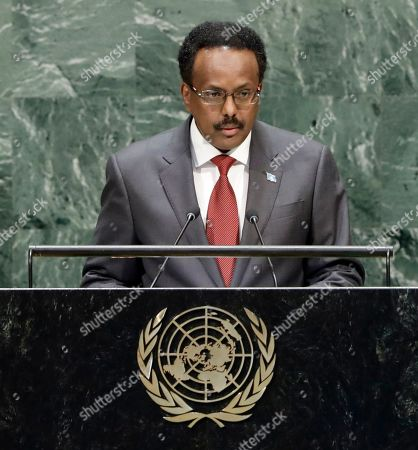 Stock Image of President of Somalia Mohamed Abdullahi 'Farmajo' Mohamed speaks to the general debate of the 74th session of the General Assembly of the United Nations at United Nations Headquarters in New York, New York, USA, 26 September 2019. The annual meeting of world leaders at the United Nations runs until 30 September 2019.