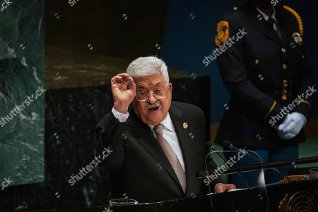 Palestinian President Mahmoud Abbas addresses the United Nations General Assembly at U.N. headquarters