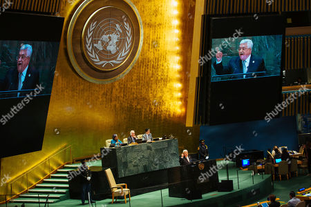 Stock Picture of Palestinian President Mahmoud Abbas addresses the United Nations General Assembly at U.N. headquarters