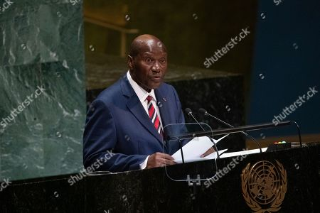 Stock Picture of Daniel Kablan Duncan, Vice-President of Ivory Coast speaks during the United Nations General Assembly at United Nations headquarters, in New York